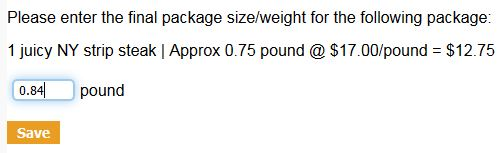 Insert the actual weight of the product - 0.84, and click Save.